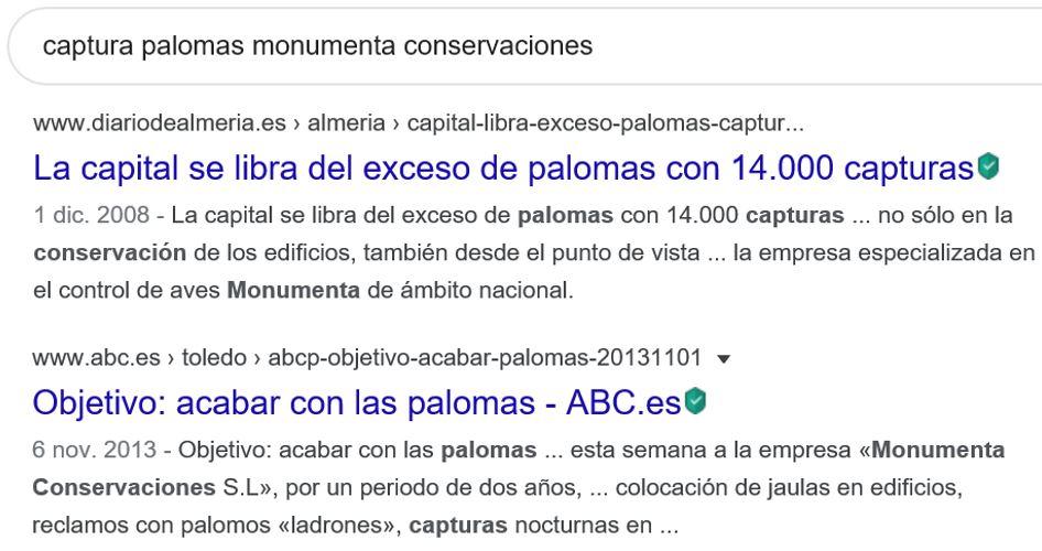 Noticias captura palomas Monumenta Conservaciones